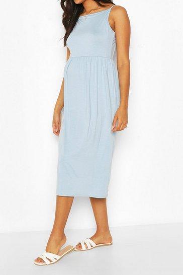 Blue Maternity Strappy Midi Smock Dress