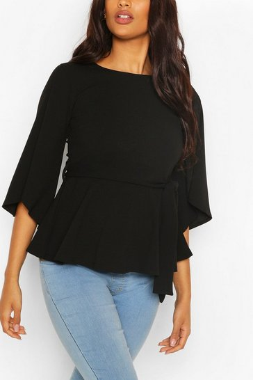 Black Maternity Split Sleeve Peplum Top