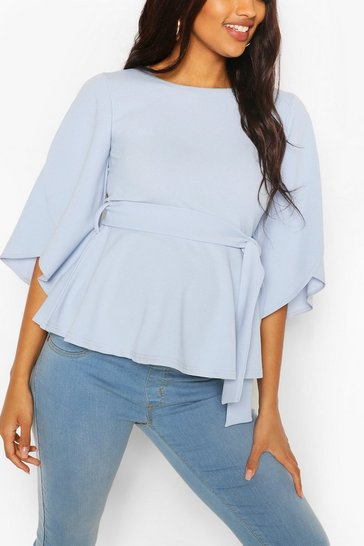 Pale blue Maternity Split Sleeve Peplum Top