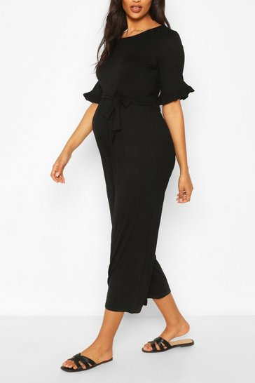 Black Maternity Slouchy Culotte Jumpsuit