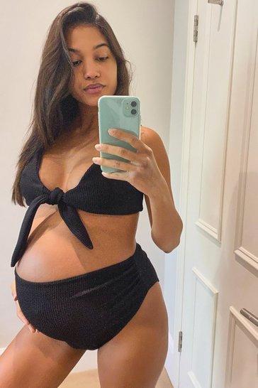 Pale blue Maternity Tie Front Crinkle Bikini