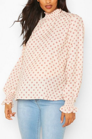 Pink Maternity Shirred Polka Dot Smock Top