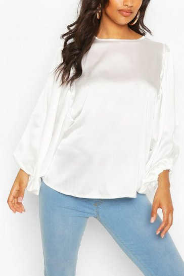 White Maternity Drape Sleeve Satin Top