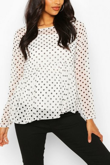 White Maternity Polka Dot Mesh Top