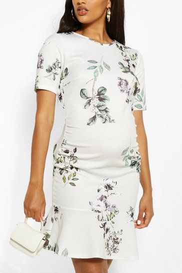 Cream Maternity Floral Scuba Frill Mini Dress