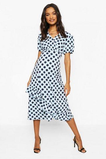 Blue Maternity Polka Dot Ruffle Hem Midi Dress