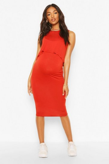 Rust Maternity Nursing Bodycon Dress