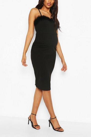 Black Maternity Feather Trim Midi Bodycon Dress