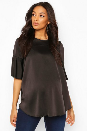Black Maternity Satin Frill Sleeve Blouse
