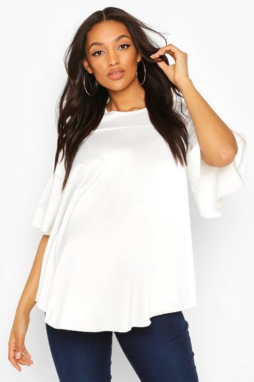 White Maternity Satin Frill Sleeve Blouse