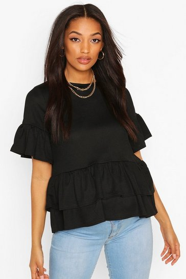 Black Maternity Double Layer Smock Top