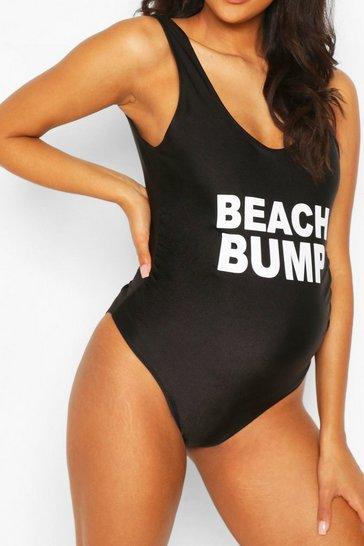 Black Maternity Beach Bump Swimsuit