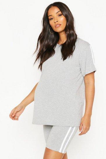 Light grey Maternity Cycling Short & T-Shirt Lounge Set