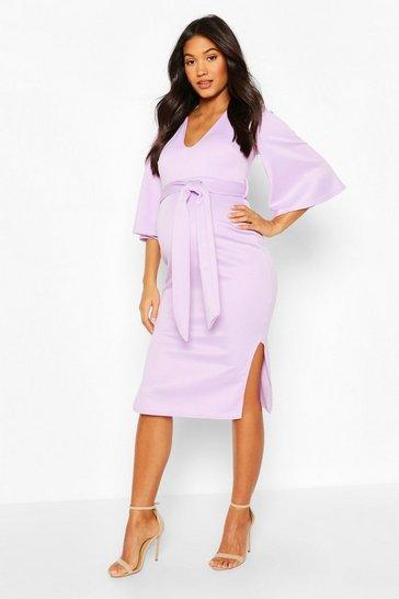 Lilac Maternity Angel Wing V-neck Midi Dress