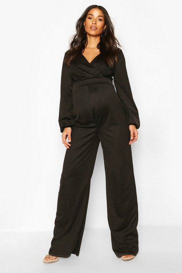 Black Maternity Cross Over Wide Leg Jumpsuit