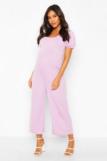Lilac Maternity Puff Sleeve Culotte Jumpsuit
