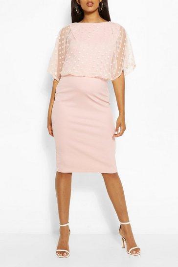 Blush Maternity Dobby Mesh Overlay Midi Dress