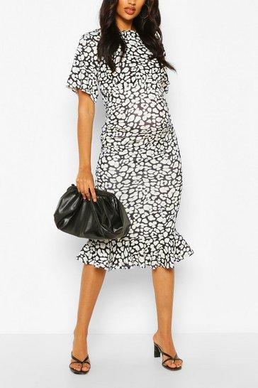 Black Maternity Leopard Print Ruffle Midi Dress
