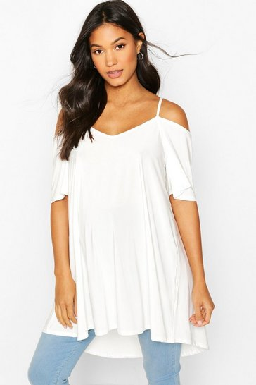 White Maternity Cold Shoulder Slinky Tunic Top