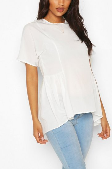White Maternity Tunic Dip Hem Smock Top