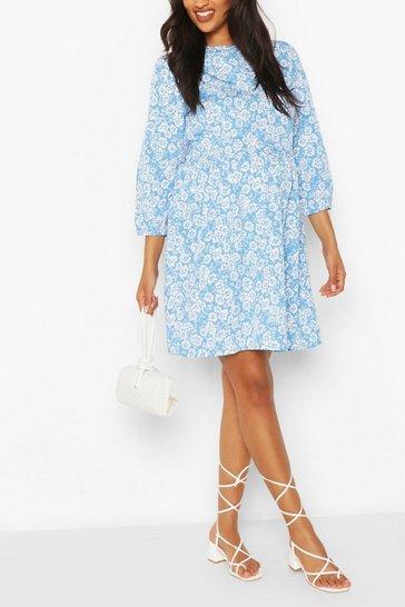Blue Maternity Ditsy Floral Smock Dress