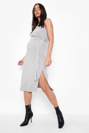 Grey Maternity Ribbed Tie Midi Dress