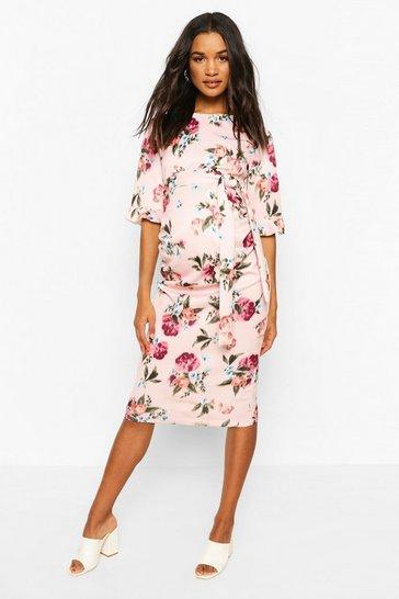 Pink Maternity Floral Ruffle Midi Bodycon Dress