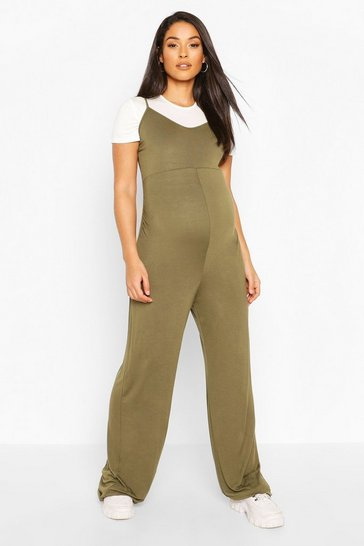 Khaki Maternity 2 in 1 T-Shirt Jumpsuit