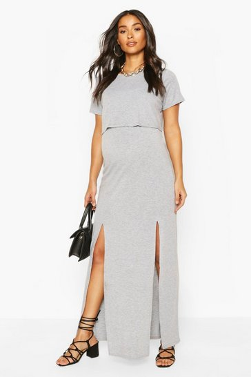 Grey marl Maternity Nursing Split Front T-Shirt Dress