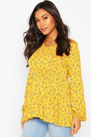 Mustard Maternity Ditsy Smock Top