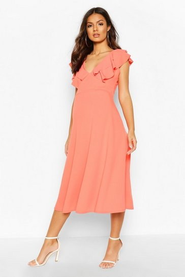 Coral Maternity Frill Collar Midi Dress