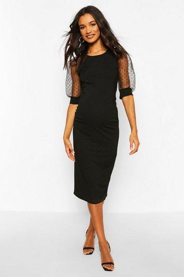 Black Maternity Dobby Mesh Sleeve Bodycon Dress