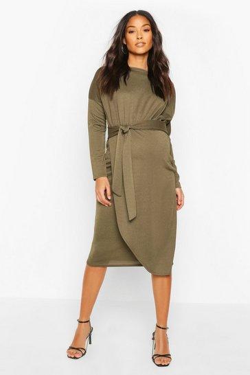 Khaki Maternity Long Sleeve Tie Side Midi Dress