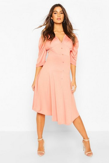 Coral Maternity Button Front Midi Skater Dress