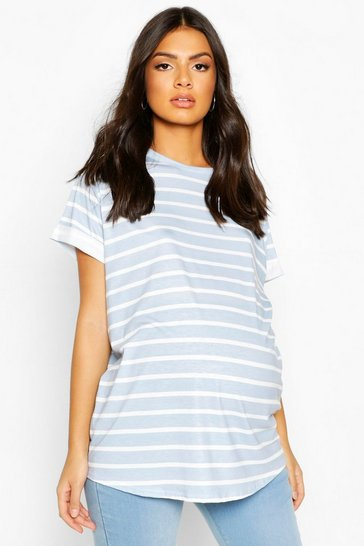 Blue Maternity Short Sleeve Stripe T-Shirt