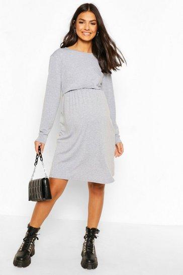 Grey Maternity Long Sleeve Nursing Smock Dress