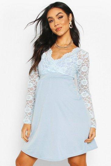 Light blue Maternity Lace Sleeve Skater Dress
