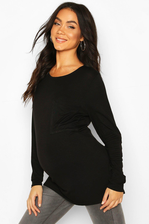 Womens Umstandsmode Langärmliges T-Shirt mit Tasche - schwarz - 36, Schwarz - Boohoo.com