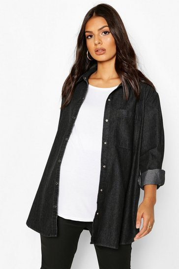 Black Maternity Oversized Denim Shirt
