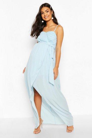 Dusty blue Maternity Tie Waist Wrap Dress