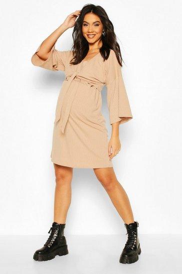 Nude Maternity Knot Front Nursing Shift Dress