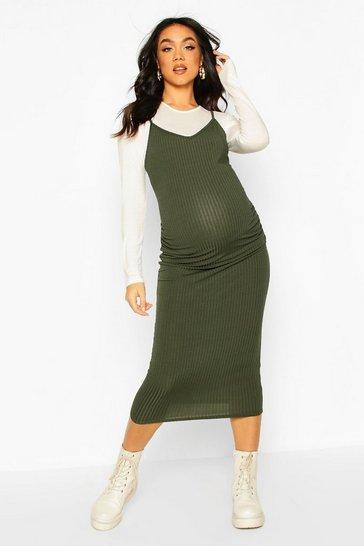 Khaki Maternity 2 In 1 Top And Midi Slip Dress