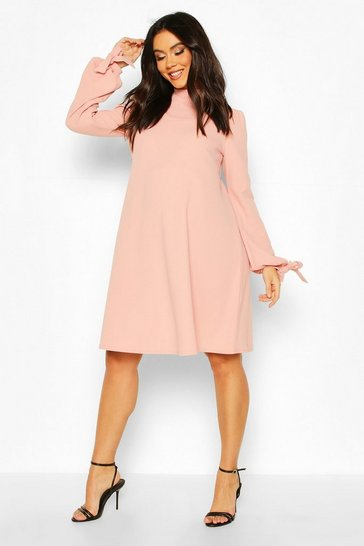 Dusky pink Maternity Tie Sleeve Smock Dress