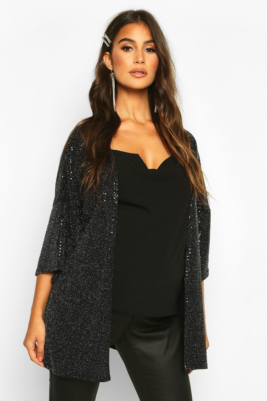 boohoo Womens Maternity Shimmer Kimono Jacket - Metallics - 12, Metallics