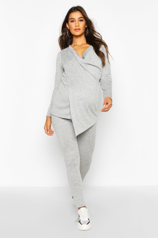 boohoo Womens Maternity Nursing Wrap Lounge Set - Grey - 10, Grey
