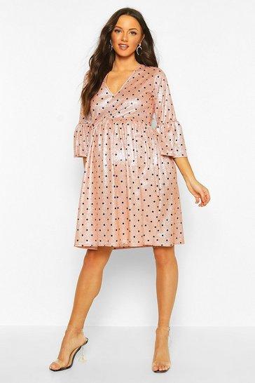 Pink Maternity Glitter Polka Dot Smock Dress