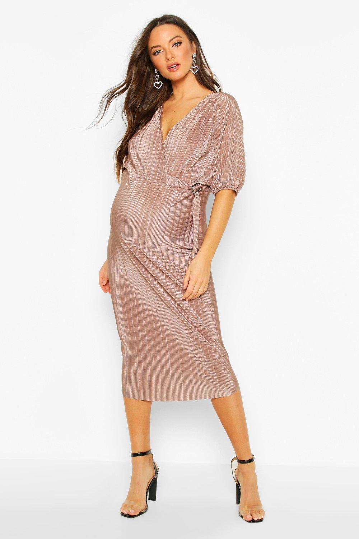 Из коллекции для беременных— Миди платье с пряжкой и складками