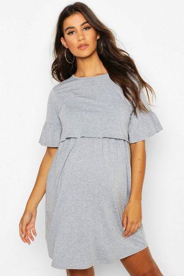 Light grey Maternity Nursing Smock Dress