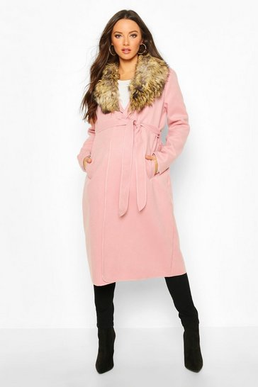 Pale pink Maternity Faux Fur Collar Belted Wool Look Coat