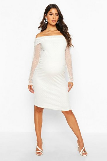 Ivory Maternity Bardot Dobby Mesh Bodycon Dress